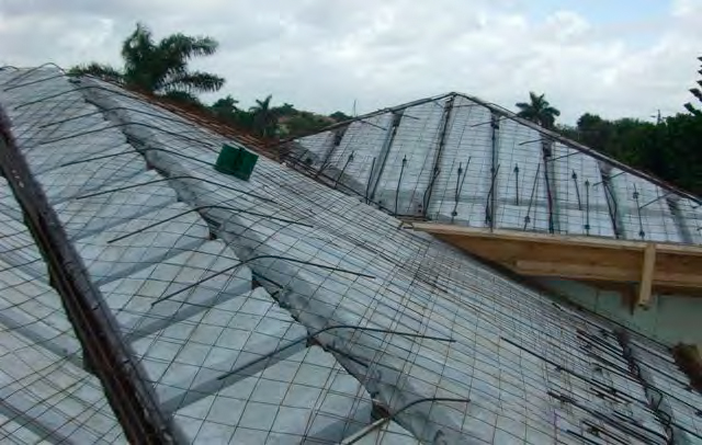 Icf roof icf parapet flat roof on open web steel joist for Icf concrete roof